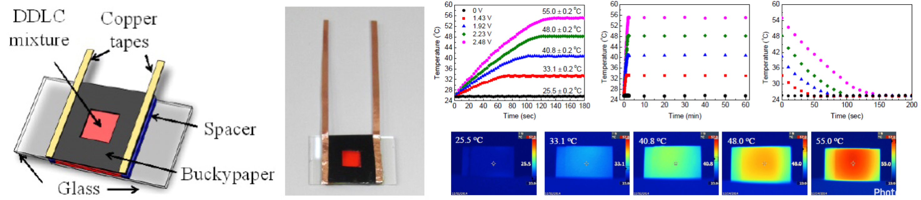 Electrically controllable all-optical switches using dye-doped liquid crystal cells with buckypapers